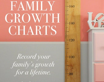 GROWTH CHART RULER Timber Solid Height Family Record Vinyl