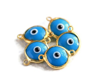 Evil Eye Charm, Glass, Blue Evil Eye Gold 2 Loops Connector, 5 Pieces  Luster, 24K Gold Plated Charm  - EE047