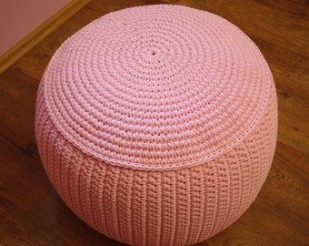 "STUFFED Crochet Pouf 40 cm/60 cm/23, 6""/15""/Poof/Ottoman/Footstool/Home Decor/Pillow/Bean Bag/Floor cushion"
