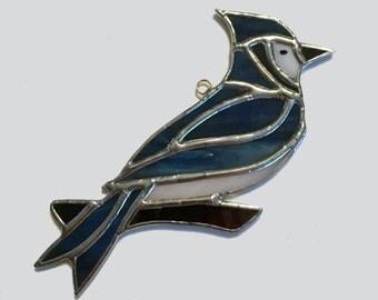 Handmade Stained Glass Blue-Jay Suncatcher
