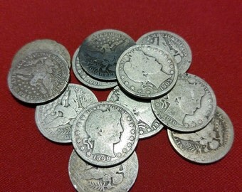 Barber Silver Quarter CULL Coins // 1892-1916 // 90% Silver // 1 COIN // Old Antique Money