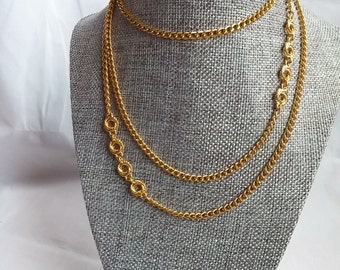 """Monet Gold Necklace- with Twisted Stationed Braided Circles Vintage from the 1970s- Long Chain 52"""" CM"""