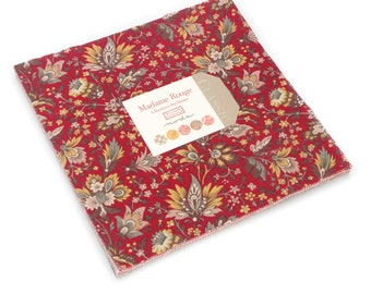 "Madame Rouge Layer Cake, French General Fabric, French General Layer Cake, Moda Layer Cake, (40) 10x10"" Fabric Squares, 13770LC"