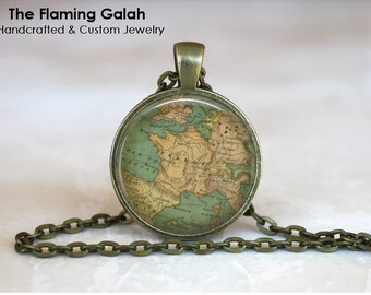 FRANCE Map Pendant • Vintage French Map • Antique French Map • Map of France • Gift Under 20 • Made in Australia (P0448)