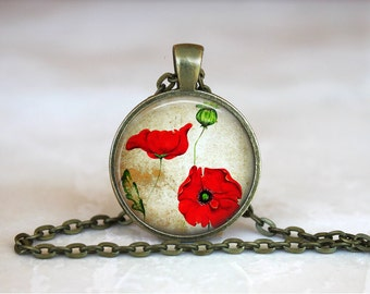 POPPY Pendant •  Remembrance Poppy •  Red Poppy •  Vintage Red Flower •  Floral Jewellery • Gift Under 20 • Made in Australia (P0335)