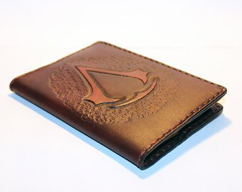 Leather Passport Cover With Assasins Creed logo! Leather Passport Holder! Leather Travel Passport Cover! Brown Handmade Passport Cover!
