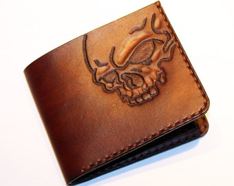 Leather wallet with skull, great leather item, brown men's wallet, credit card wallet, gift for men, leather wallet with skull.