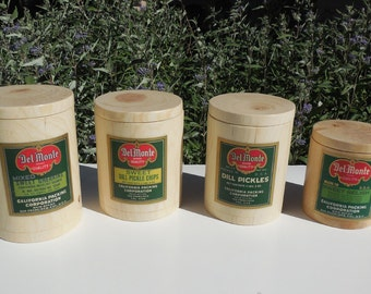 Blonde Wooden Canisters with Vintage Del Monte Condiment Labels, Natural Cottonwood and Pinon Canisters with Original 1920-30's Labels