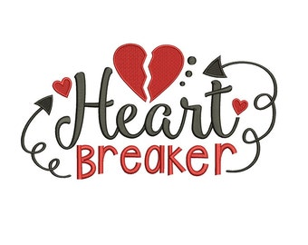 Heart Breaker Machine Embroidery Filled Design Digitized Pattern - Instant Download