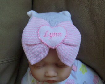 Personalized Newborn Hospital Baby Girl Hat (pink and white)