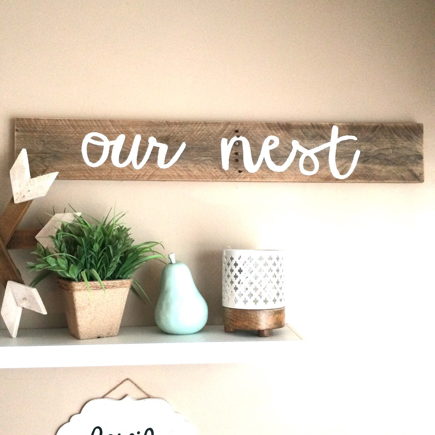 Our nest reclaimed wood family sign home decor sign for The nest home decor