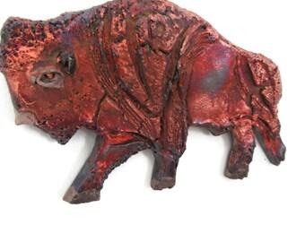 Baby Bison raku ceramic wall sculpture