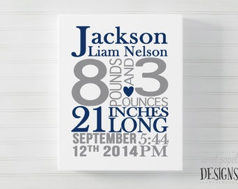 Baby Birth Stats Canvas, Boy Birth Announcement Wall Art, Nursery Canvas, Personalized Canvas Baby Gift, Navy Gray Nursery, Baby Boy Gift