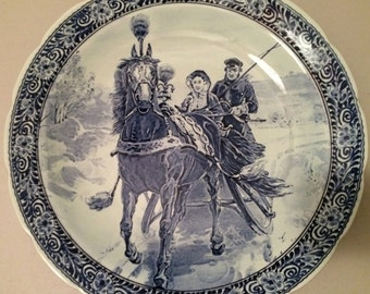 """15 1/2"""" Delfts Blue & White Charger - Horse Drawn Sleigh - Royal Sphinx, Maastricht (Petrus Regout)"""