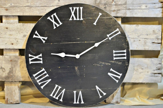 20 Large Oversized Distressed Rustic Wood Wall Clock