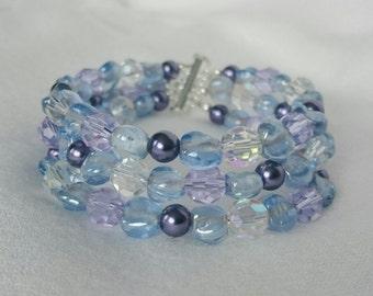 Blue Lilac Mauve Multistrand Bracelet