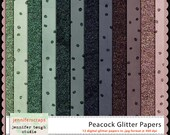 Instant Download - Set of 12 digital papers - Peacock Glitter Papers