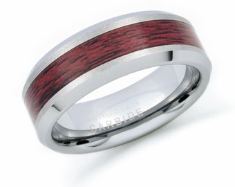 8mm Tungsten Wedding Ring. Personalized  Wood Inlay Tungsten Ring , Men's Wedding Ring Band FREE ENGRAVING