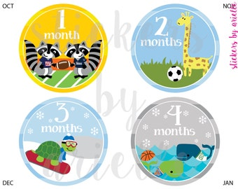 Month by Month Baby Stickers - Sports Rivalry Theme