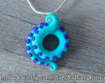 Octopus tentacle handmade polymer clay necklace