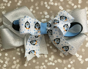 Winter Boutique Bow | Penguin Hair Bow | Winter Hair How | Toddler Hair Bow | Penguin Bow