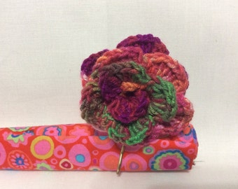 Hand crocheted variegated purple and green rose bobbie pin