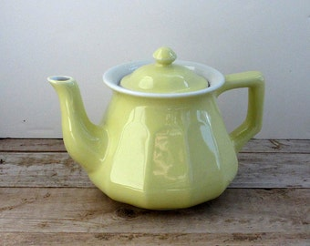 Hall China Teapot Canary Yellow Vintage Hall Pottery