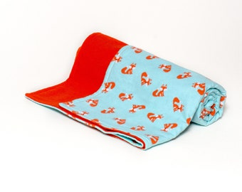 Baby blanket - Foxes - Swaddler - 100% Cotton Flannel