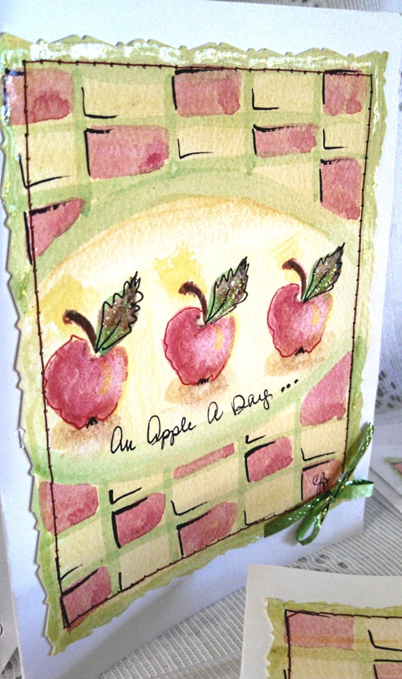 Original watercolor and ink red apples checker board lime green yellow greeting cards everyday notes letters country garden cards stationary