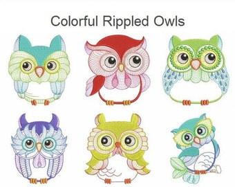 Colorful Rippled Owls Machine Embroidery Designs Instant Download 4x4 hoop 10 designs SHE1656