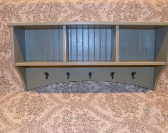 Entryway Cubby Storage Shelf with Coat Hooks -- Custom Colors and Sizes Available!