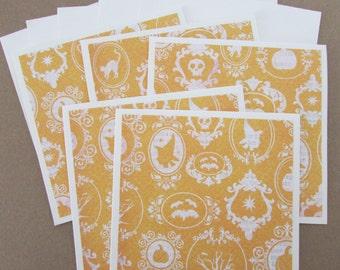 Halloween Note cards-set of 5 blank note cards,stationery set,Halloween cards,teacher/hostess gift idea,handmade/homemade cards