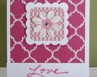 Love card, quatrefoil cards, spouse cards,Valentine card-wedding/anniversary cards, feminine cards, greeting cards, homemade/handmade cards