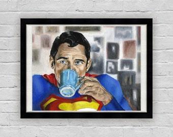 Superman Needs Coffee - Superhero Superman Art Print
