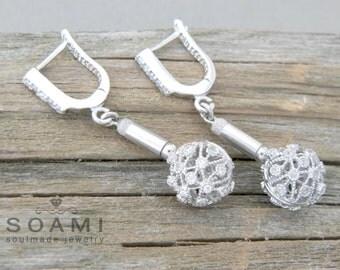 925 sterling silver ball  earrings, White zircon earrings, long silver one ball earrings