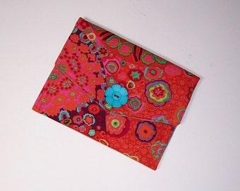 Fabric Wallet, Thin Wallet, Passport Holder, Orange Print Wallet