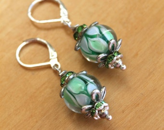 Swirls of Green Glass Bead Earrings