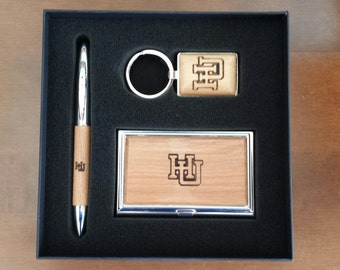 Personalized Maple Business Gift Set - Key Fob / Business Card Holder / Pen