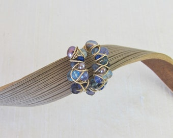 London Blue Topaz, Tanzanite, Sapphire, Kyanite, Iolite, Lapis,  and Tourmaline 14K Gold Filled Handmade Wrapped Ring
