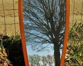 Oval Vintage Mid Century Danish Modern Teak Veneer Frame Mirror Modernist