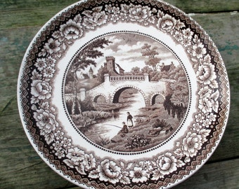Antique Small Plate Maastricht Holland Old Bridge Brown White Lovely