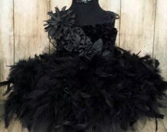 Black swan, black feather tutu dress ,pagean dress, birthday, wedding tutu, flower girl dress, flower girl tutu, black ballerina dress