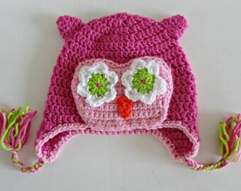 Girls Crochet Owl Beanie Pink, FREE SHIPPING