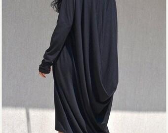 ON SALE NEW Black Dress / New plus size Dress /  Party  Dress  / Evening Dress /Drape dress