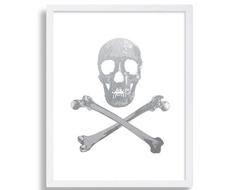 Faux Silver Foil Art Print of Skull and Cross Bones Pirate Art Print Death Decor Toxic Warning Print Goth Decor Skeleton Print Poster Art
