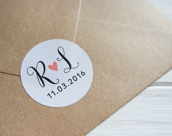 24 Custom Wedding Initials Date Heart Stickers Save The Date Envelope Seals 40mm / Wedding Favor / 215