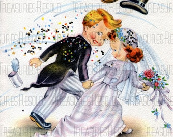 Retro Newlyweds Bride and Groom Card #33 Digital Download