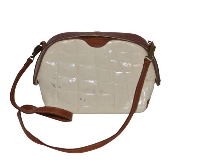 White Furla Vintage Estate Leather Clutch Handbag