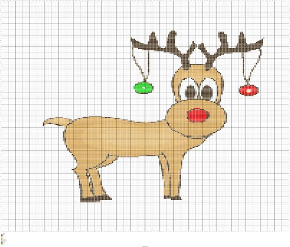 Reindeer Knitting Pattern Chart : Knit Rudolph the Red Nose Reindeer Knitting by FADesignCharts