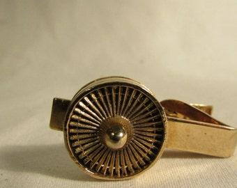 Tie Clip, Roulette Wheel, Gold Tone Metal, 1980's